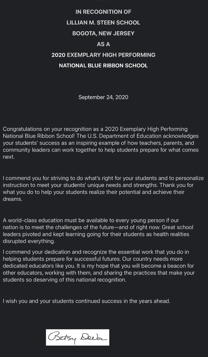 Congratulations to Dr.Collins and the entire Steen school community. #NBRS2020 @LillianMSteen1 https://t.co/pIJtmJDmiJ