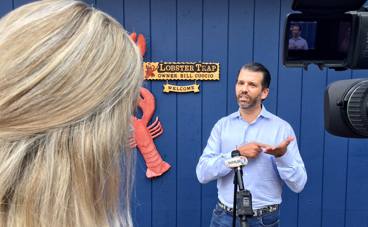 .@WMUR9 After delivering an energized speech to the crowd in #fitn North Conway, Don Jr takes some time to speak with us one on one #wmur #nhpolitics https://t.co/8MBLFn9PQe