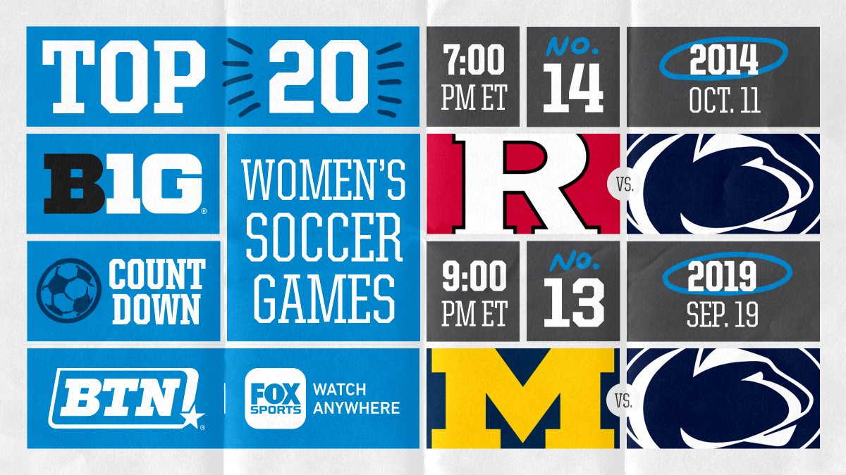 Two of the best women's ⚽️ games tonight for the price of one. 🙏  ➔ 7 PM ET: @RUWSoccer at @PennStateWSOC ('14)  ➔ 9 PM ET: @umichwsoccer at @PennStateWSOC ('19) https://t.co/rITgUziZhn