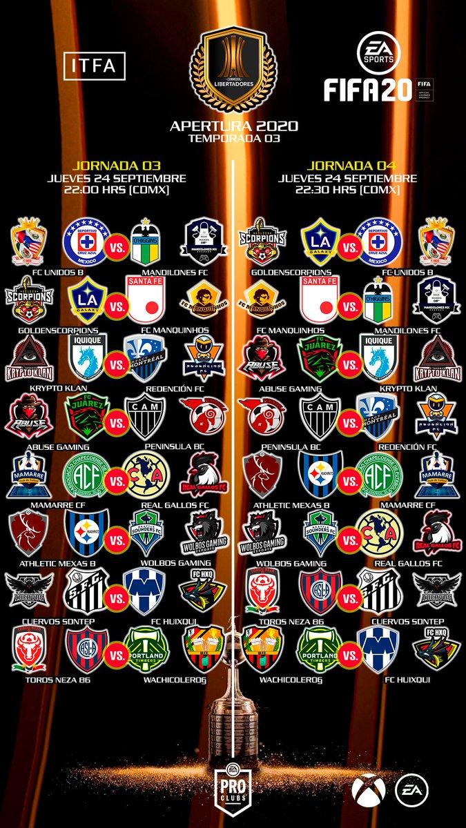 LIGAS PREMIER ⭐🎮🦁🏆⚽⭐ LIBERTADORES 🏆🇲🇽🇺🇸🇧🇷🇦🇷🇨🇱🇨🇴  JORNADAS 03 - 04  A partir de las 10:00 pm  #ITFA #LIGASPREMIER #COPAPREMIERLIBERTADORES #CLUBESPRO #XBOXONE #CLAUSURA2020 #TEMPORADA03 https://t.co/De0cnybgxY