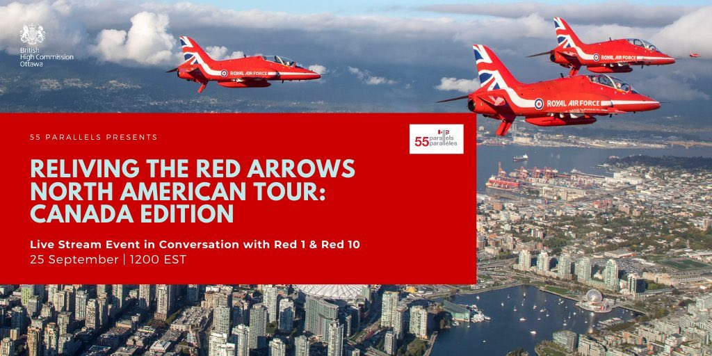 It's a year since #RedArrowsTour completed final performances in #Canada. Join @RAFRed1 and @rafred10 tomorrow evening as they relive highlights from the team's amazing time in the country. Follow @UKinCanada for more details about the #55Parallels Live Stream Event. 🇬🇧 🇨🇦 https://t.co/Ib1if5oOSe