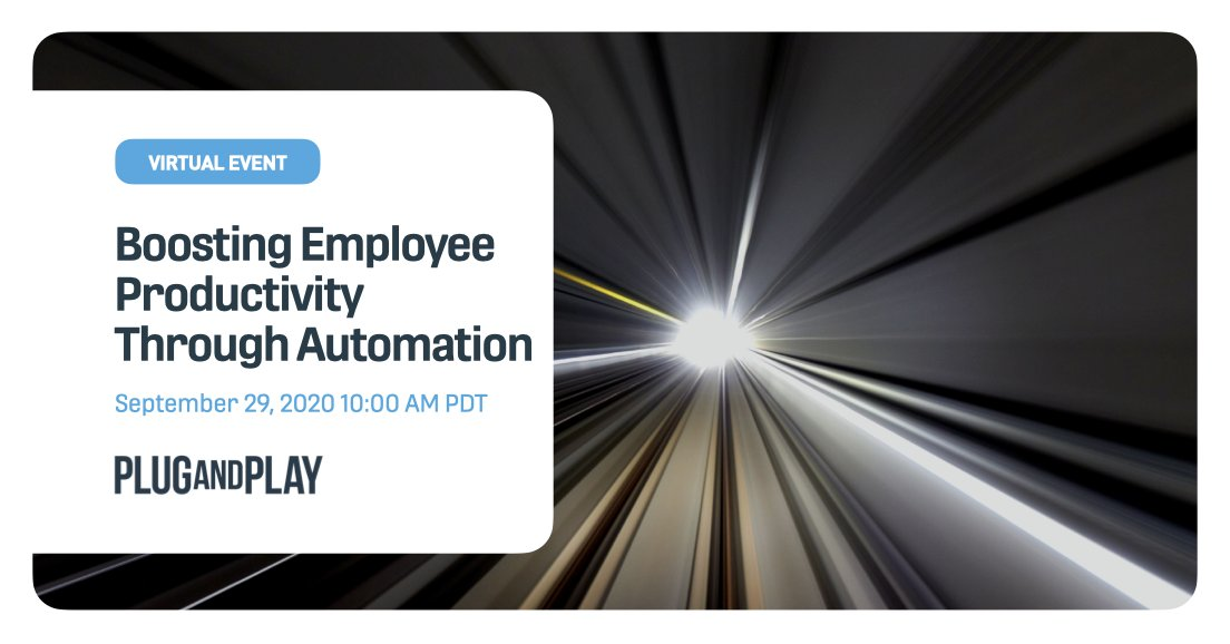 Automation helps employees become more productive, increase performance and reduce costs. Join us to learn about the top startups in the Plug and Play ecosystems, that can help shape the future of your organization.  Register for the event here 👉 https://t.co/vldWeKIAWW https://t.co/A6BjhRIY4y