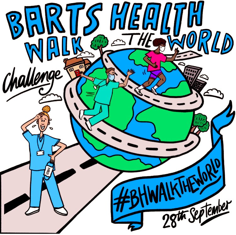 very excited about  #BHWalktheWorld #teamBartsHealth challenge commencing at 00.01 on 28th September can we walk the world in a week? All steps count! 🦶 🦶@NHSBartsHealth @NewhamHospital @BartsHospital @RoyalLondonHosp @WhippsCrossHosp HT @Beciward  4 fab graphics 💫 https://t.co/5LELAfxoHZ