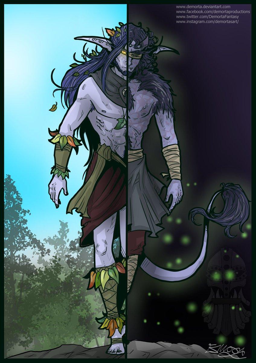 Purity vs. corruption~  #art #artist #illustration #illustrator #drawing #worldofwarcraft #warcraft #worldofwarcraftart #nightelf #kaldorei #nelf #demonhunter #illidari #demon #elf #elves #orc #orcs #halforc #halfdraenei #draenei #fantasy #fantasyart #digitalart #characterart https://t.co/CaY1CVgjCf