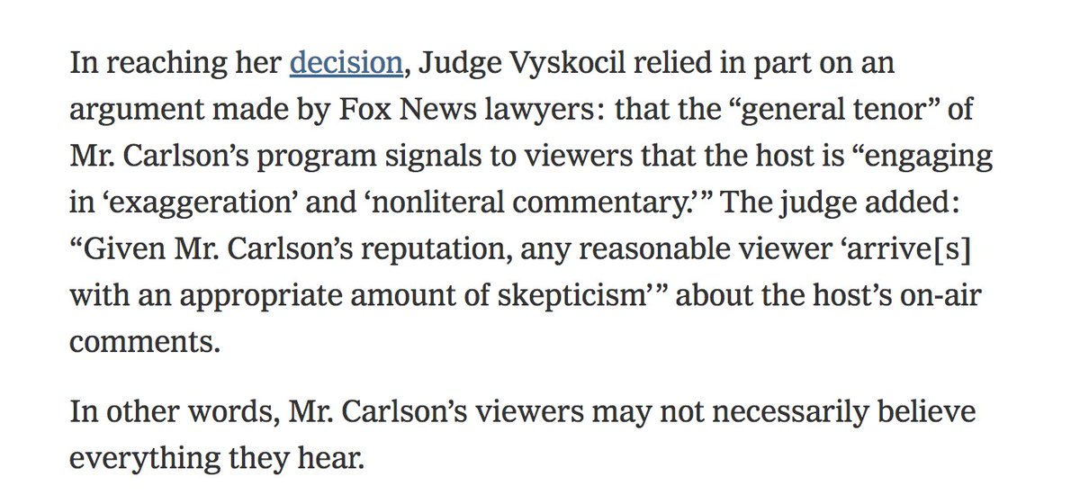 Lawyers for Fox News have successfully argued that you should not believe everything you hear on Fox News. https://t.co/RXONsPpblN https://t.co/LFxXr1bnUg