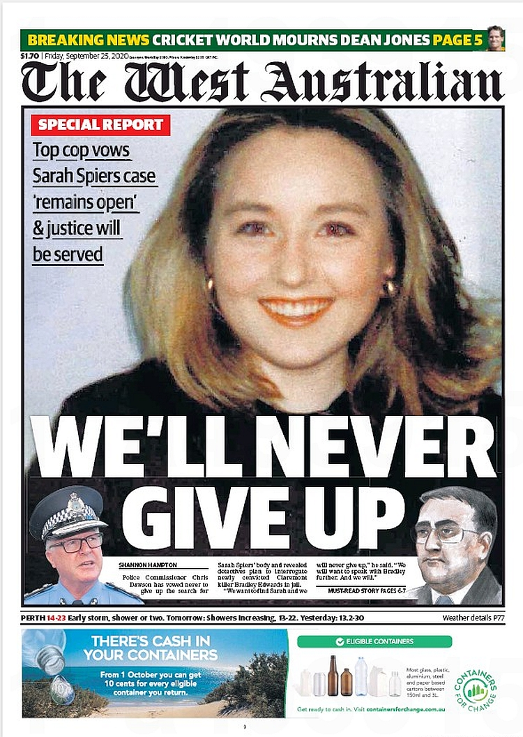 We Never Give Up. Top cop vows Sarah Spiers case 'remains open' & justice will be served ~ @ShannonHampton_  #frontpagestoday #Australia #TheWestAustralian #buyapaper 🗞 https://t.co/6Z0moUqL55