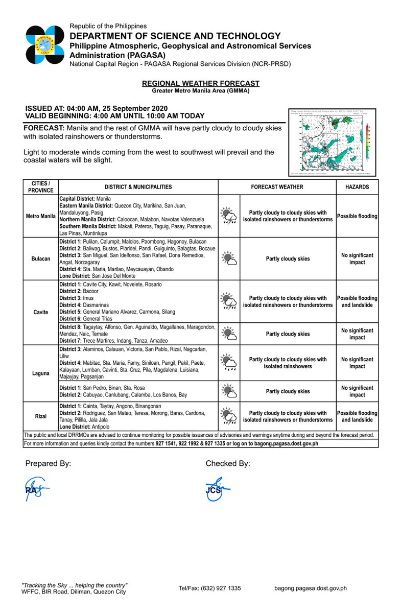 REGIONAL WEATHER FORECAST for GREATER METRO MANILA AREA (GMMA) #NCR_PRSD Issued at: 4:00 AM, 25 September 2020 Valid Beginning: 4:00 AM - 10:00 AM today  https://t.co/fiReKiBwYN https://t.co/xEFt8K4vWU