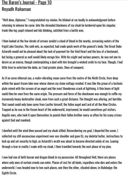 No rest for the wicked! I continue to recount some of my adventures in literal #Hell for you all to enjoy.😈Here's the next page in my #flashfiction series The Baron's Journal.   Previous pages: https://t.co/aFMjg5QIV5  #demons #thedivinecomedy #inferno #DanteAlighieri #writing https://t.co/Ik2JrRF0ML