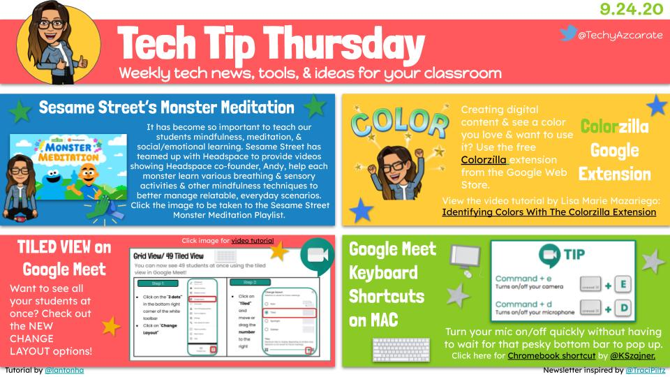 Tech Tip Thursday featuring the new tiled view on #GoogleMeet by @lantonha, #SEL monster meditation 🧘‍♀️videos from @sesamestreet, #GoogleMeet shortcuts by @KSzajner, & the Colorzilla #Chrome extension to help you create colorful digital resources.🎨👩🏻‍💻 🔗 https://t.co/BZRNS32gRR 🔗 https://t.co/uxSJqOVXmA