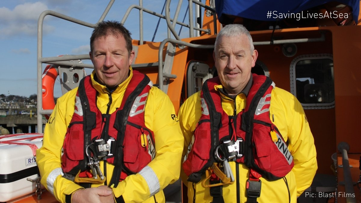 "Patch, ""Bringing people back to their loved ones is what it's all about, you know – that's why we do the job.""  Pictured: Patch and his cousin Kenny from @penleelifeboat. #SavingLivesAtSea https://t.co/Qt0mpzKPHM"