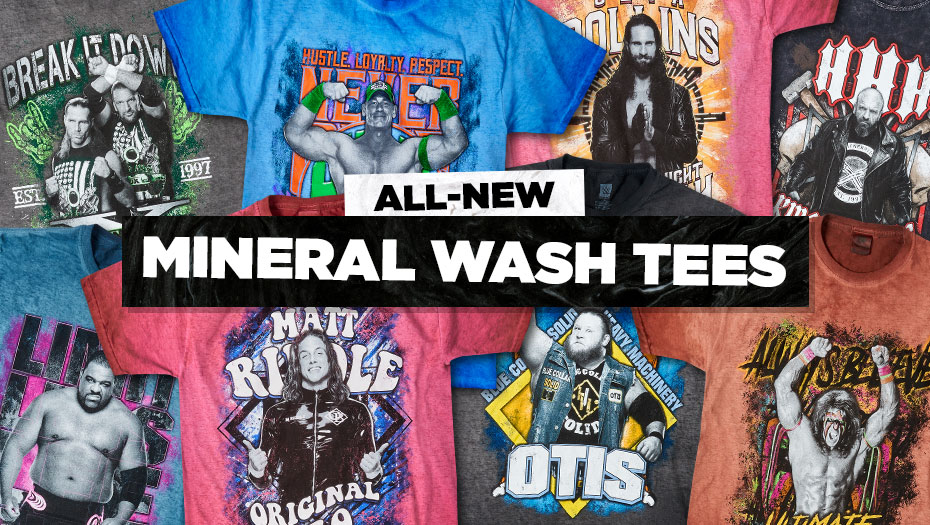 Check out the new Mineral Wash Collection. This collection features a rustic, allover #mineralwash that gives an edgy denim look to our Superstar t-shirts. No two garments are exactly alike! Featuring some of your favorite #WWE Superstars & more! #WWEShop  https://t.co/pJvx8yfZGz https://t.co/HUIwfwZ2As