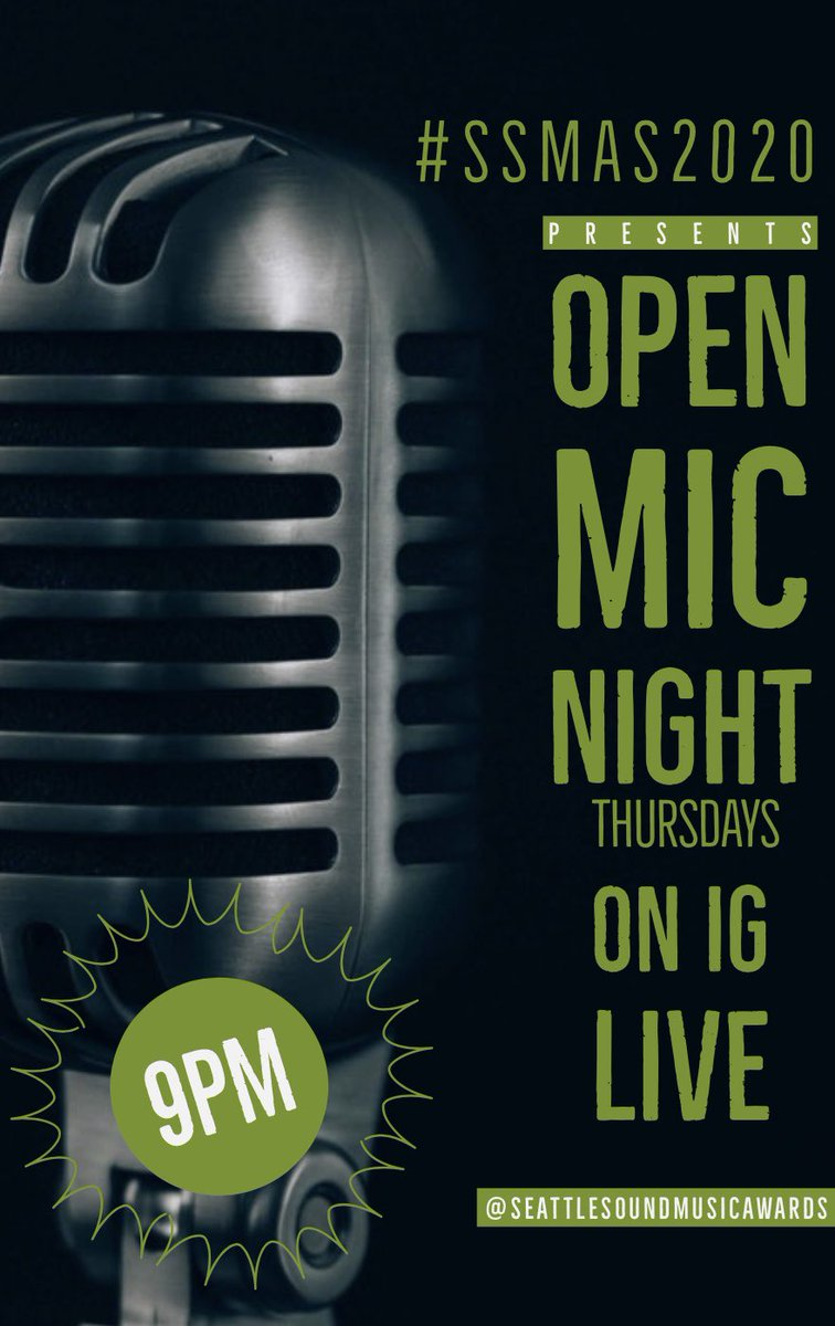 #OPENMIC TONIGHT ON #Instagram LIVE❗️❗️❗️9 PM/PST  https://t.co/LzNvCHqgKC 🎤🔥  #ssmas2020 #seattle #seattlemusic #hiphop #rnb #spokenword #poetry #seattletogether #wegotthisseattle https://t.co/i2vTtknrAc