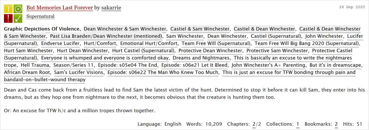Team Free Will Big Bang On Twitter Latest Story Is Here But Memories Last Forever Sakarrie Art Gio Pairings Gen Past Dean Lisa Mentioned Rating T Word Count 10 2k Warnings Graphic Depictions