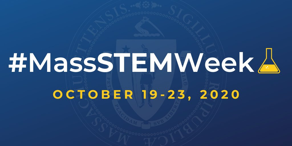 The 3rd Annual Statewide #MassSTEMWeek is coming!  While #MassSTEMWeek might look different this year due to #COVID19MA, students across the Commonwealth will still have the chance to #SeeYourselfinSTEM through exciting virtual + in-person events.  🔬➡️ https://t.co/mclQvjVIlc https://t.co/qSZNEwsxnU