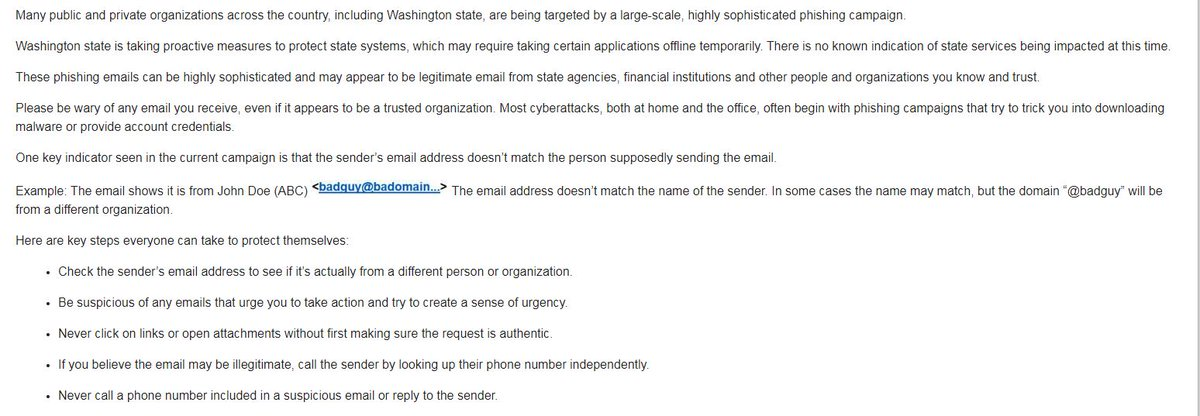 This is a sophisticated nationwide email scam campaign including WA as @GovInslee has said. We ask everyone to exercise special care, diligence and attention to the sender/content before responding to any unusual communications from state agencies. #waleg @WaTechGov