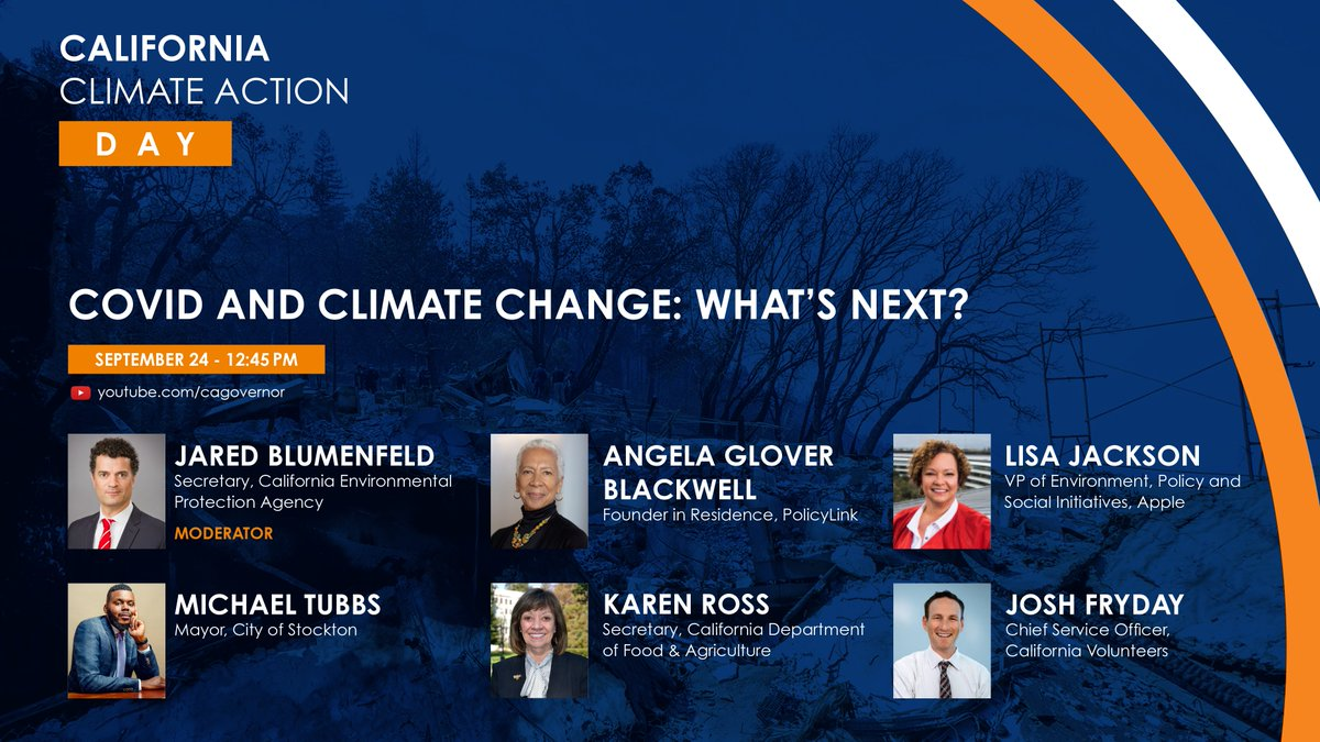 """📣 Happening Now 📣 Join @CaliforniaEPA for """"COVID & #ClimateChange: What's Next?"""" on CA's recovery plans benefiting all Californians with @agb4equity @lisapjackson @MichaelDTubbs @agsecross @JoshFryday. #CAClimateAction   Tune in: https://t.co/RAYhg9JtF6 https://t.co/5gRN2PtV0z"""