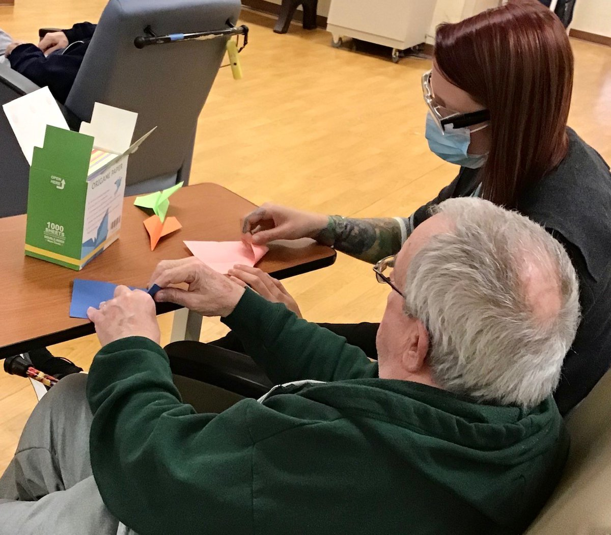 The recreation staff at the Soldiers' Home in Holyoke has been doing paper folding, or origami, with our veterans. This simple activity can help increase creativity, relaxation, cerebral activation, and joy! https://t.co/ktl72UckyI