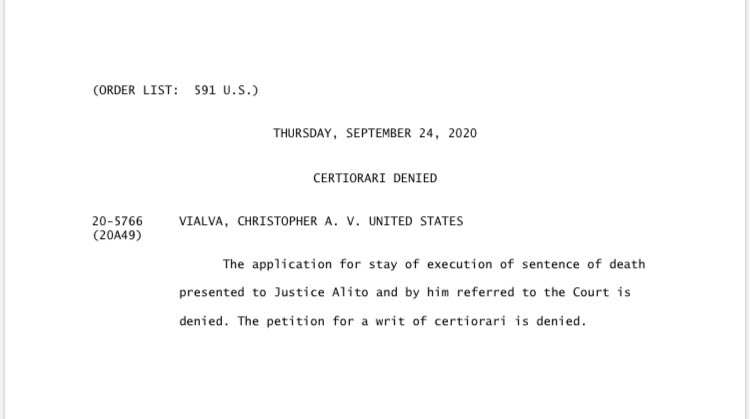 #SCOTUS won't halt latest federal execution.