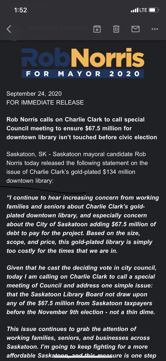 Another library statement from Norris today. #yxecc #yxe #yxevotes #saskatoon #skpoli https://t.co/njRmd8oDyP