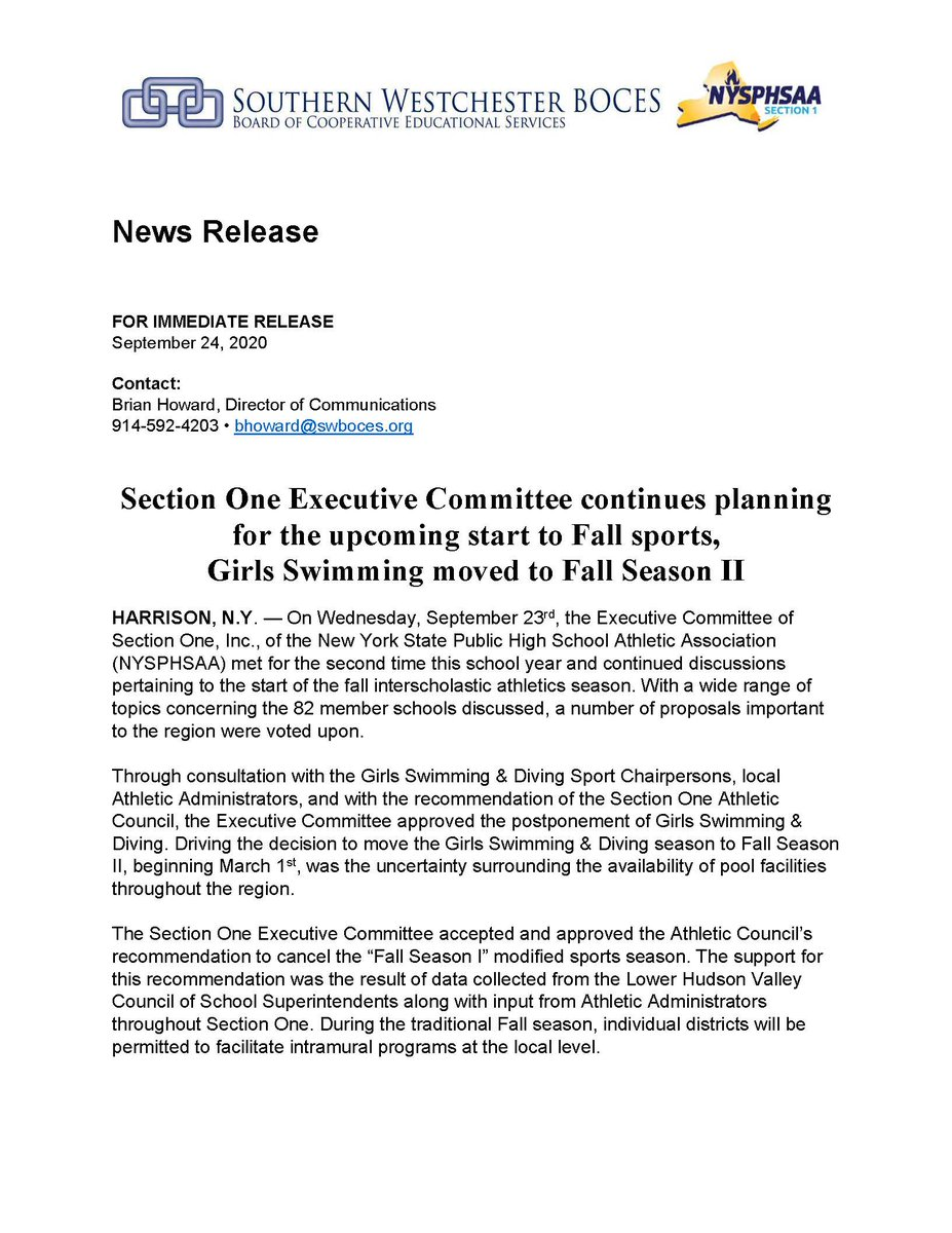 Below is a brief recap of Tuesday's Section 1 Executive Committee meeting. Most notably, Girls Swimming & Diving has been moved to Fall Season II. https://t.co/Z7O3lnkgI9
