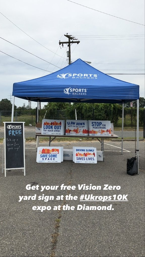 Heading to the #Ukrops10K expo today? Don't forget to snag your free Vision Zero sign. Just in time for Pedestrian Safety Month next week! #visionzero #driveslowly #lookoutforeachother https://t.co/3J50XgwbZs
