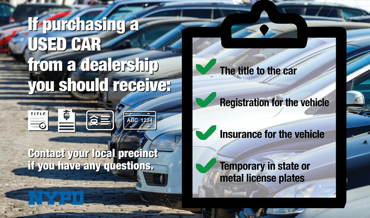 Don't fall victim to auto scams!  If you're planning to purchase a used car from a dealership, make sure you leave with these items to avoid becoming a victim of a scam. https://t.co/8UDBjUnKdX