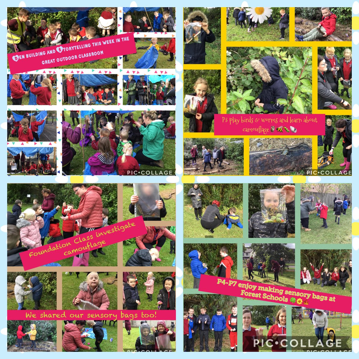 An amazing week ⁦@RathcoolePs⁩ enjoying Forest School.🐛 We are so proud of the Oracy skills of all our pupils.Great team work. Problem solving. Creativity. Numeracy. Sharing their learning. Well done to all🦔🐿  #WECAN learn outdoors ⁦@CSSC_NI⁩  ⁦@Ed_Authority⁩ https://t.co/ZNVn9SF8QG