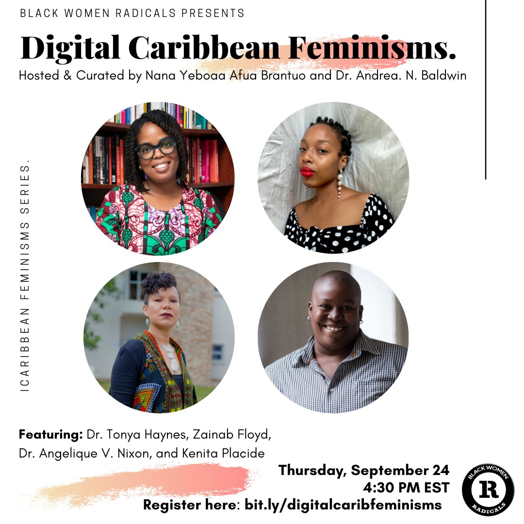"""The first event of our """"Caribbean Feminisms Series"""" –– Digital Caribbean––has started! We are doing live tweets from the event. Keep up with us by tagging us & using the hashtag #caribbeanfeminisms. This series is hosted & curated by @NanaYBrantuo & Dr. @AndreaNBaldwin. https://t.co/TVykdNSFAe"""