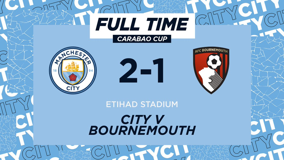 FULL-TIME | We're through! 🙌   In the @Carabao_Cup fourth round we will travel to Turf Moor to face Burnley.  🔷 2-1 🍒 #ManCity | https://t.co/axa0klD5re https://t.co/tEnEhsyzGf
