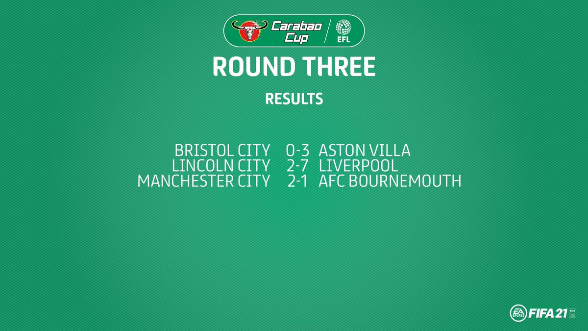 Round Three: complete!  @AVFCOfficial, @LFC and @ManCity all progress.  #EFL | #CarabaoCup https://t.co/lPYS0G5wgK