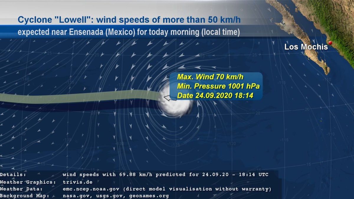"We also follow Cyclone ""#Lowell"". EMC GFS data contains #weather of type ""#StrongWind"" with wind speeds of more than 50 km/h near #Ensenada (#Mexico) for today morning given in local time. The wind speeds with 70 km/h are expected for 24.09.20 - 18:14 UTC. https://t.co/bOeRrT54UL"