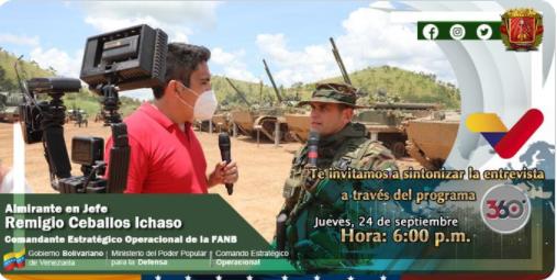 No te pierdas hoy #24Sep a las 6:00 pm, la entrevista del Cmdte CEOFANB, AJ @CeballosIchaso en el programa  @360enDirecto, por @VTVcanal8, donde dará a conocer detalles de las maniobras Militares, en el Pao, Edo. Cojedes, en el marco del #15AniversarioCEOFANB https://t.co/6prUaqhwsO