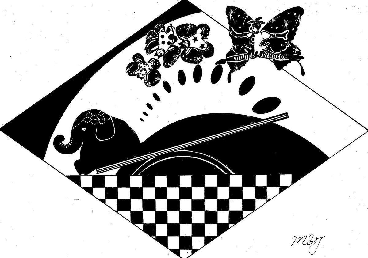 #イラスト #analogart #monochrome #oc #artistontwittter  #道化師 #犬と猫 #シーソー #acrobatics #ゾウ #蝶  ★ゾウさんとシーソー 😺😸🐶🃏「ゾウさんとシーソーをすると、僕たちは蝶のように空中を舞うことができます!」 https://t.co/skICdYd9sU