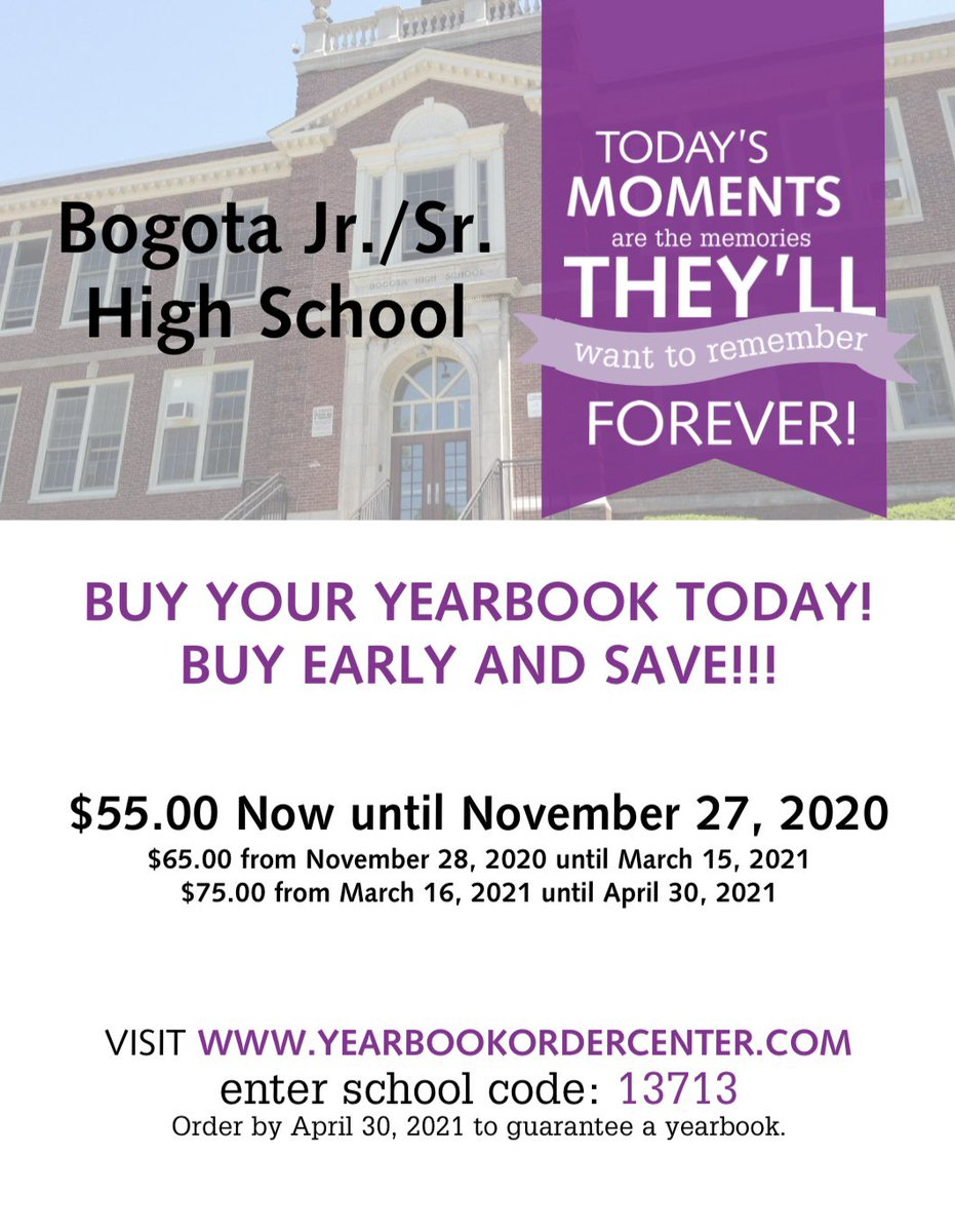 Our yearbook is now on sale! Catch our early bird sale before 11/27/2020. @BogotaPublic https://t.co/PnHEJ7rhgP