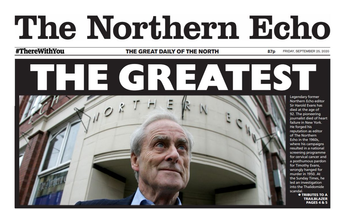 Tomorrow's @TheNorthernEcho front page tribute to Sir Harold Evans - the greatest indeed https://t.co/gEukVFBodI