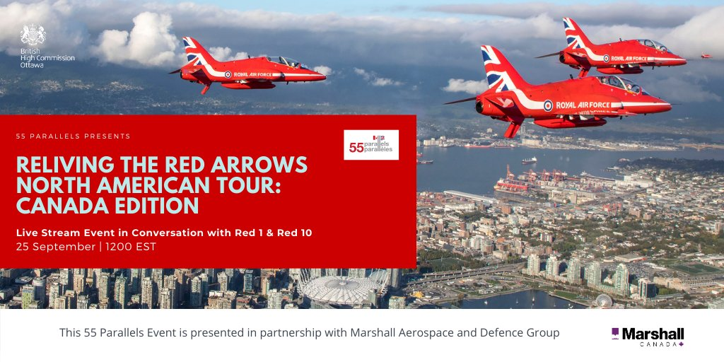 It's almost time to relive the 🇬🇧 #RedArrowsTour in 🇨🇦!  Join us for tomorrow's special #55Parallels Live Stream Event presented in partnership with @MarshallADG.  Live Stream kicks off at 12:00 EST on Facebook 👇 https://t.co/r5ZgTmJAOi
