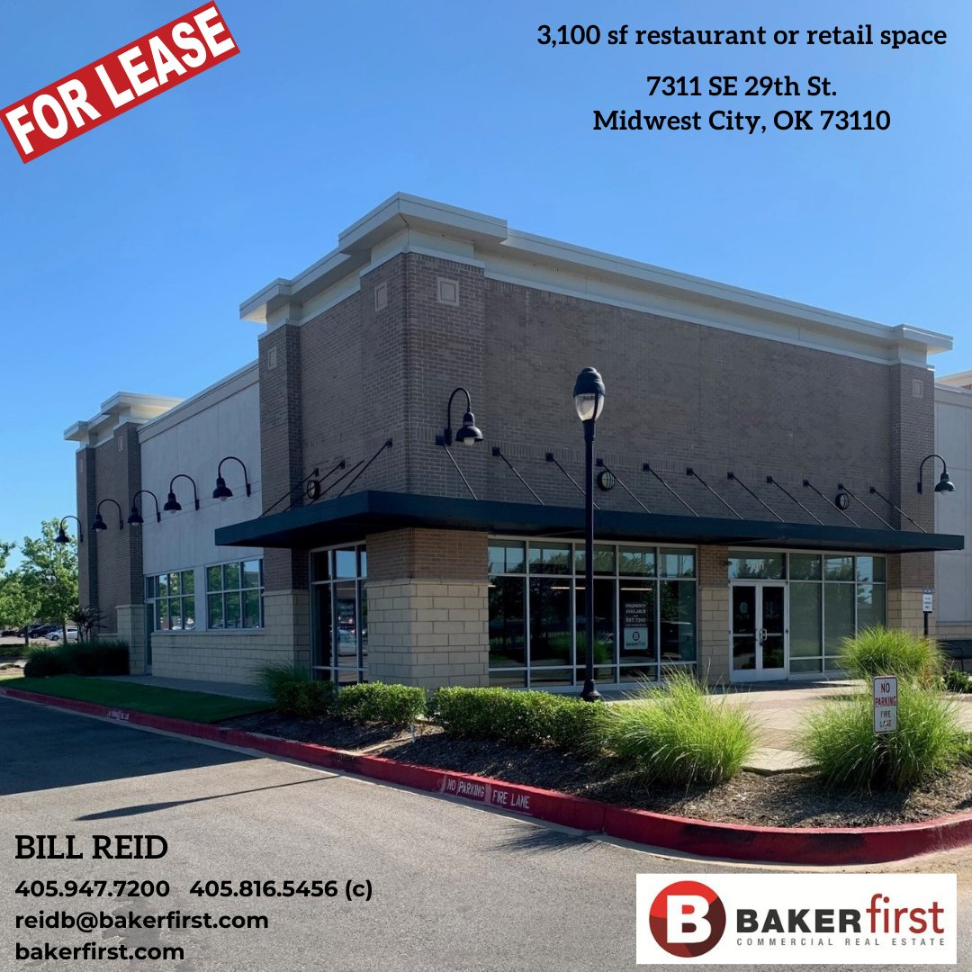 3,100 sf restaurant space For Lease 7311 SE 29th St in Midwest City, OK. All kitchen equipment included. Outparcel to Midwest City Town Ctr Plz fronting SE 29th St & visible from I-40. High traffic area near Tinker AFB.  #cre #retail #okc #mwc #midwestcity https://t.co/s3Kcn8neoy https://t.co/FGwnIm27PB