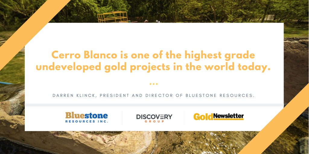 In this interview with the @DiscoveryExpl, we talk with Darren Klinck,  president and director of #BluestoneResources (TSX-V: BSR), about the firm's Cerro Blanco #gold project, which is entering the profitable preproduction phase. https://t.co/HWH8jjdhps  $BSR #Mining #Investing https://t.co/mySpKM4eyv