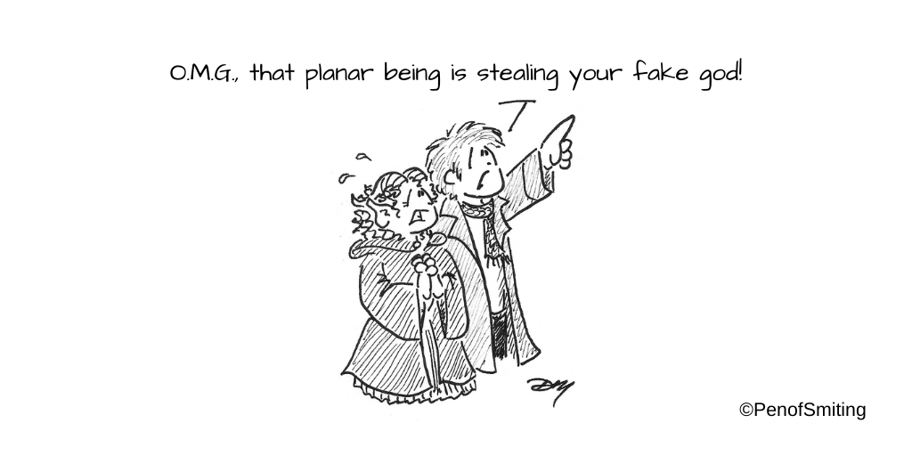 """""""It's a Bird, It's a Plane, It's a Planar Being Stealing Your Fake God!"""" (or """"Religion +10 vs Deception -1"""") #CriticalRole #criticalrolespoilers #criticalrolefanart #Jester #CalebWidogast #TheMightyNein https://t.co/ZmHP3v6iMo"""