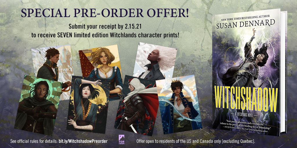 It's the moment you've all been waiting for: the preorder campaign for #Witchshadow by @stdennard is here!  If you preorder a copy, you'll receive a pack of seven #Witchlands character prints, created by @NipuniDraws!  Preorder and enter before 2/15/21: https://t.co/6U4BDTqrxV https://t.co/dsXmEBMoGT