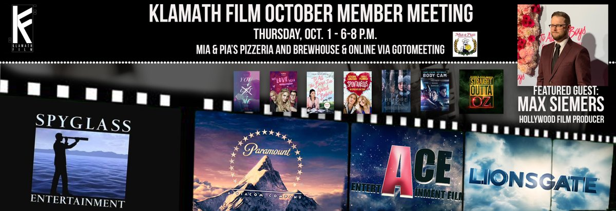 ***JUST ANNOUNCED*** Our October Klamath Film meeting guest will be Hollywood film producer Max Siemers. Join us on Thursday, Oct. 1 @ 6 p.m. at Mia & Pia's (3545 Summers Lane, Klamath Falls) in-person, or join us online via GoToMeeting.   Details here: https://t.co/mV33aFyuJG https://t.co/0SLgYdrhpX