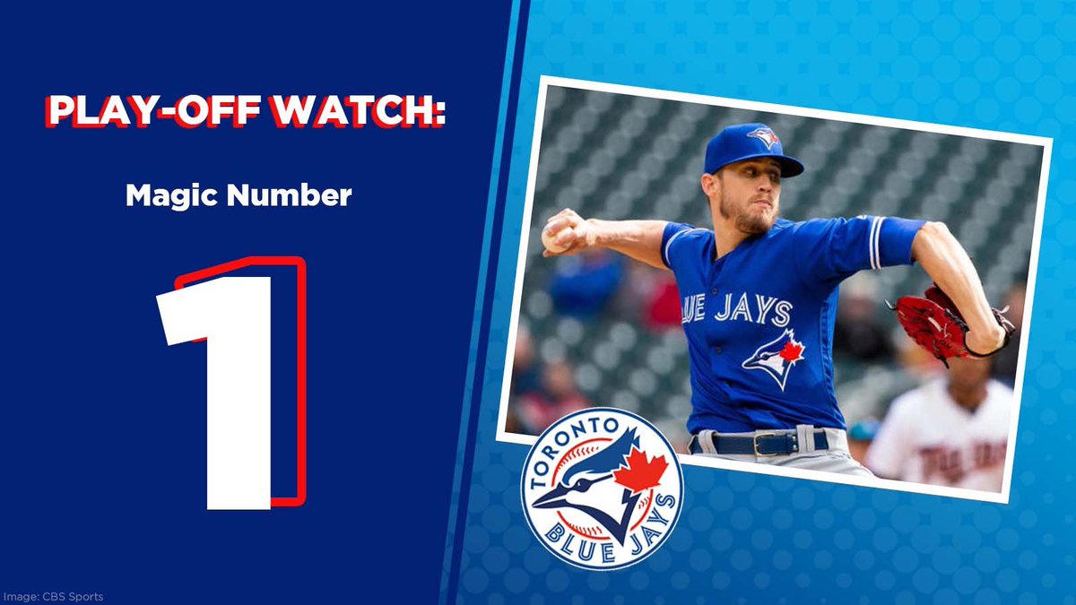 Excited to watch another big game tonight for the @BlueJays. Only 1 win away from making the playoffs! #WeAreBlueJays