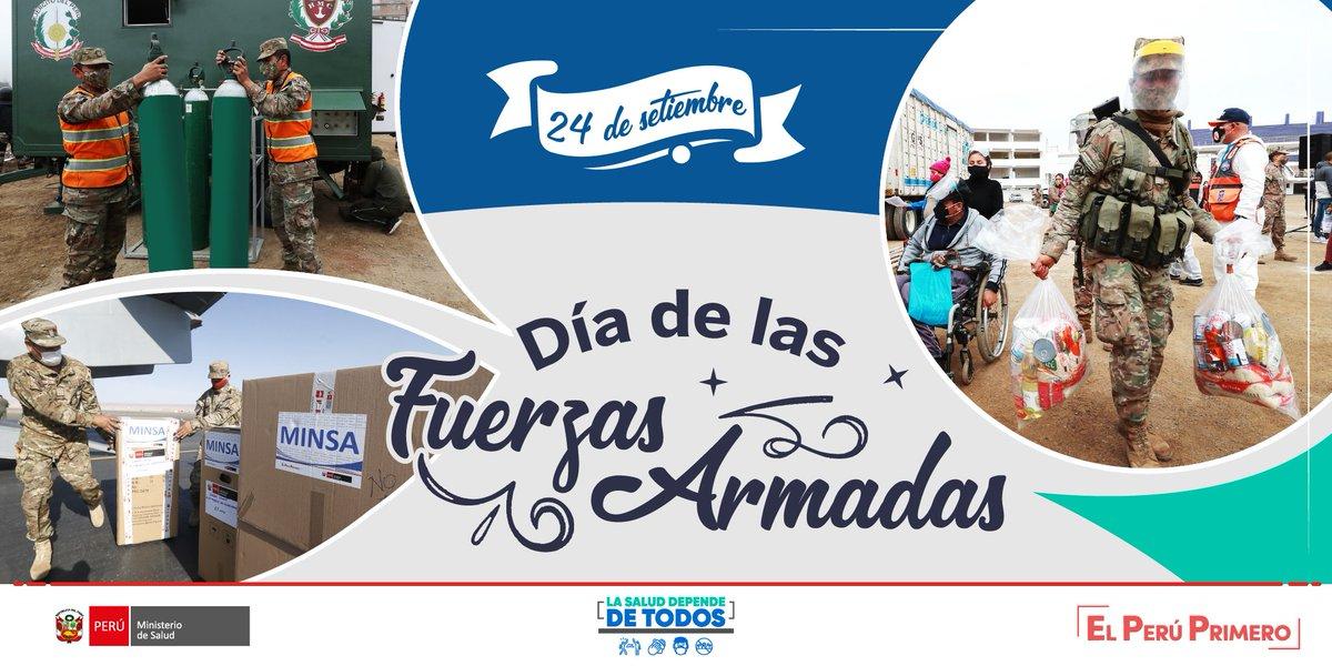 Hoy, en el Día de las Fuerzas Armadas, saludamos y agradecemos la labor que realizan #EnPrimeraLínea, junto al personal de salud, las mujeres y los hombres del @EjercitoPeru, la @naval_peru y la @fapperu en la lucha contra la COVID-19. https://t.co/XLt7sB7DiS