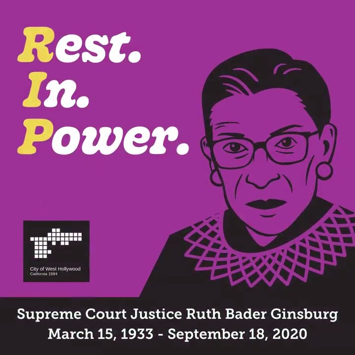 All flags in West Hollywood have been lowered to half-staff in observance of the passing of Supreme Court Justice Ruth Bader Ginsburg. Flags will remain at half-staff for 27 days from the date of her passing — one day to represent each year #RBG served as Supreme Court Justice.