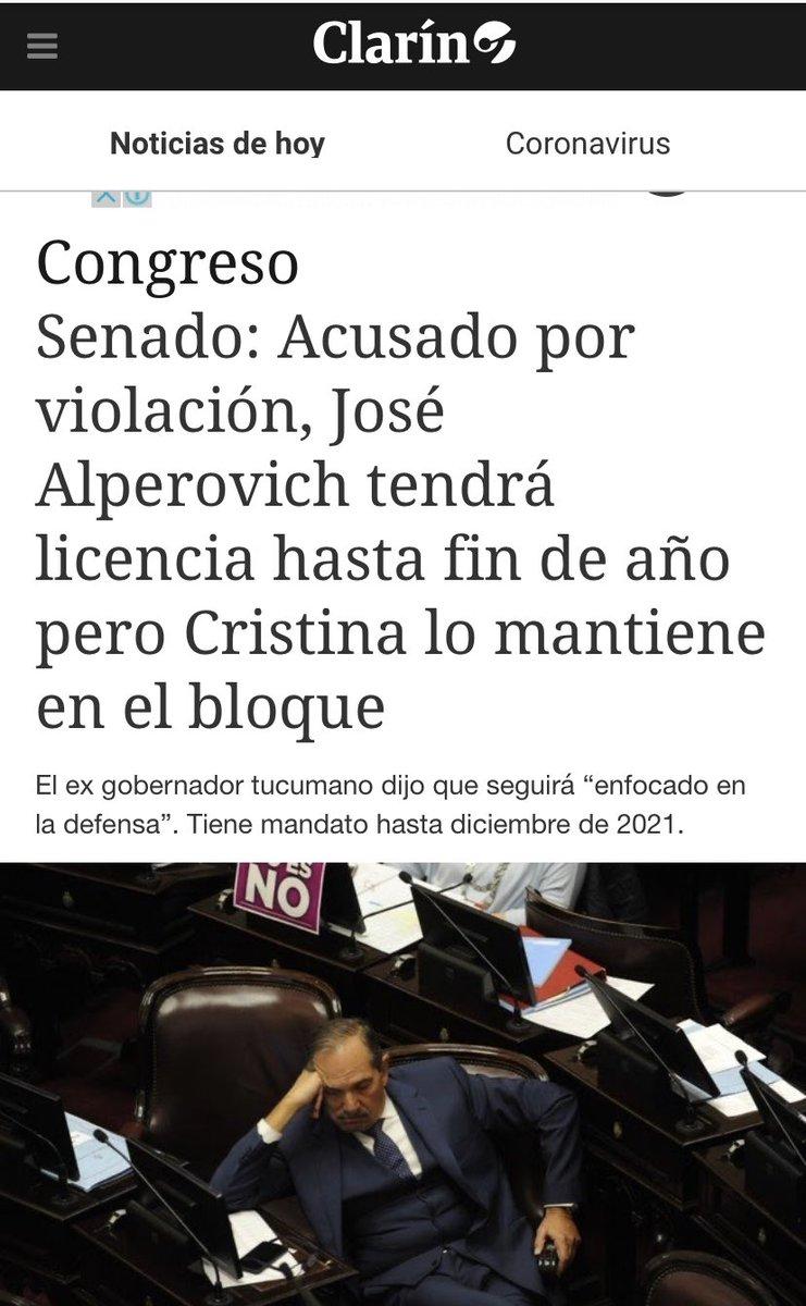 HARTA !! Dip Nacional Ameri, del FdT en una acción repudiable, el Senador Alperovich, denunciado por abuso sexual, el gobernador de La Rioja, Quintela, tb FdT lamentando el cierre de prostíbulos, el concejal  Maldonado de Río Gallegos, tb del FdT, todos en funciones. Harta! https://t.co/exSoNNI1Fp
