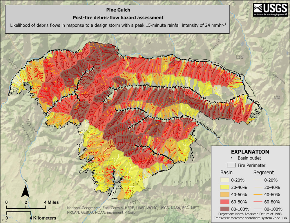 We've released a #debrisflow hazard map for the #PineGulchFire, CO burn area that indicates a very high to high level of debris-flow hazard in most of the burned area. Debris flows can be hazardous to life and infrastructure. See https://t.co/LmGuvpTHCe #USGS https://t.co/NS1CWI4kOy