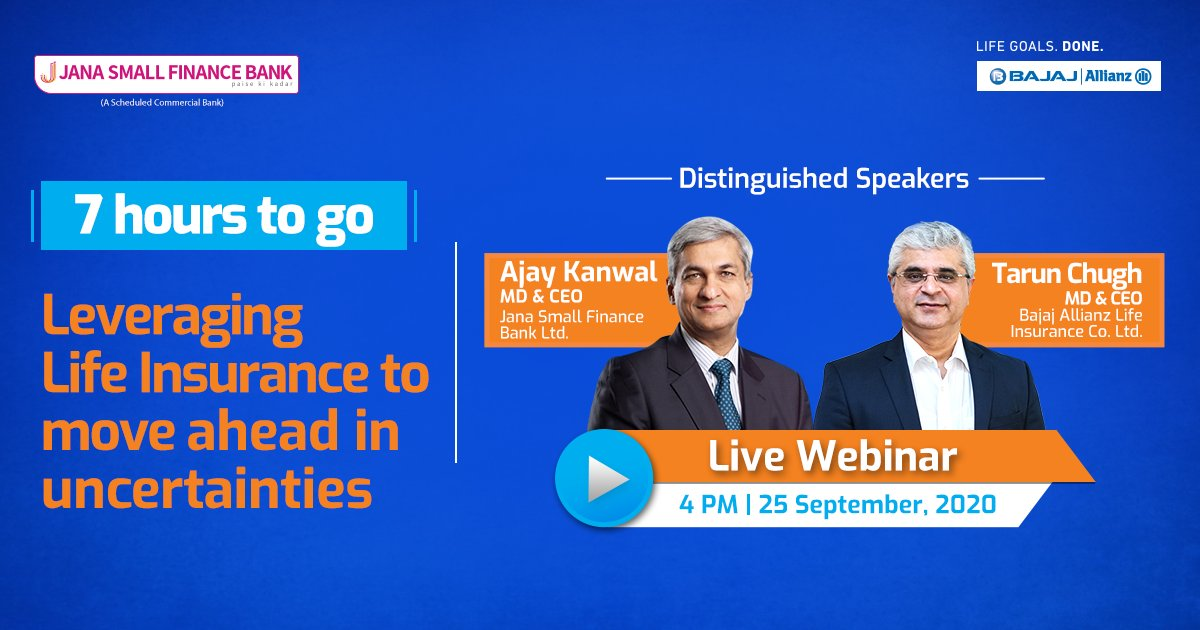 Only 7 hours to go for our webinar with @TarunChugh2015, our MD & CEO & @AjayKanwal8, MD & CEO, @janabank. Join them as they discuss the role Life Insurance plays in navigating us through uncertain times and steering us towards our #LifeGoals.  Register: https://t.co/CapFVzGkmL https://t.co/M6ycIAi3JM