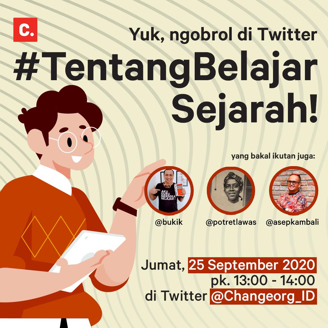 Oh ya, jam 1 siang nanti, jangan lupa kita ada diskusi TweetChat untuk membahas #TentangBelajarSejarah bareng @bukik, @potretlawas dan @AsepKambali 👀😀 https://t.co/evgPUyYeaS