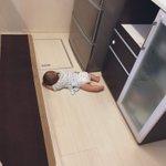 えっ…そこで?w台所で見事に力尽きる赤ちゃん!w