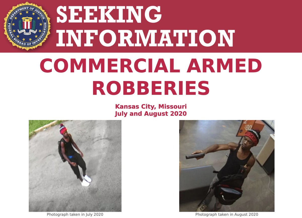 A reward of up to $5,000 is available for information that leads to the identification and arrest of the individual responsible for two commercial armed robberies in Kansas City, Missouri. Submit tips at https://t.co/iL7sD5efWD. #OperationLegend https://t.co/nPMKMMB3sZ https://t.co/6hk1KIC6fH